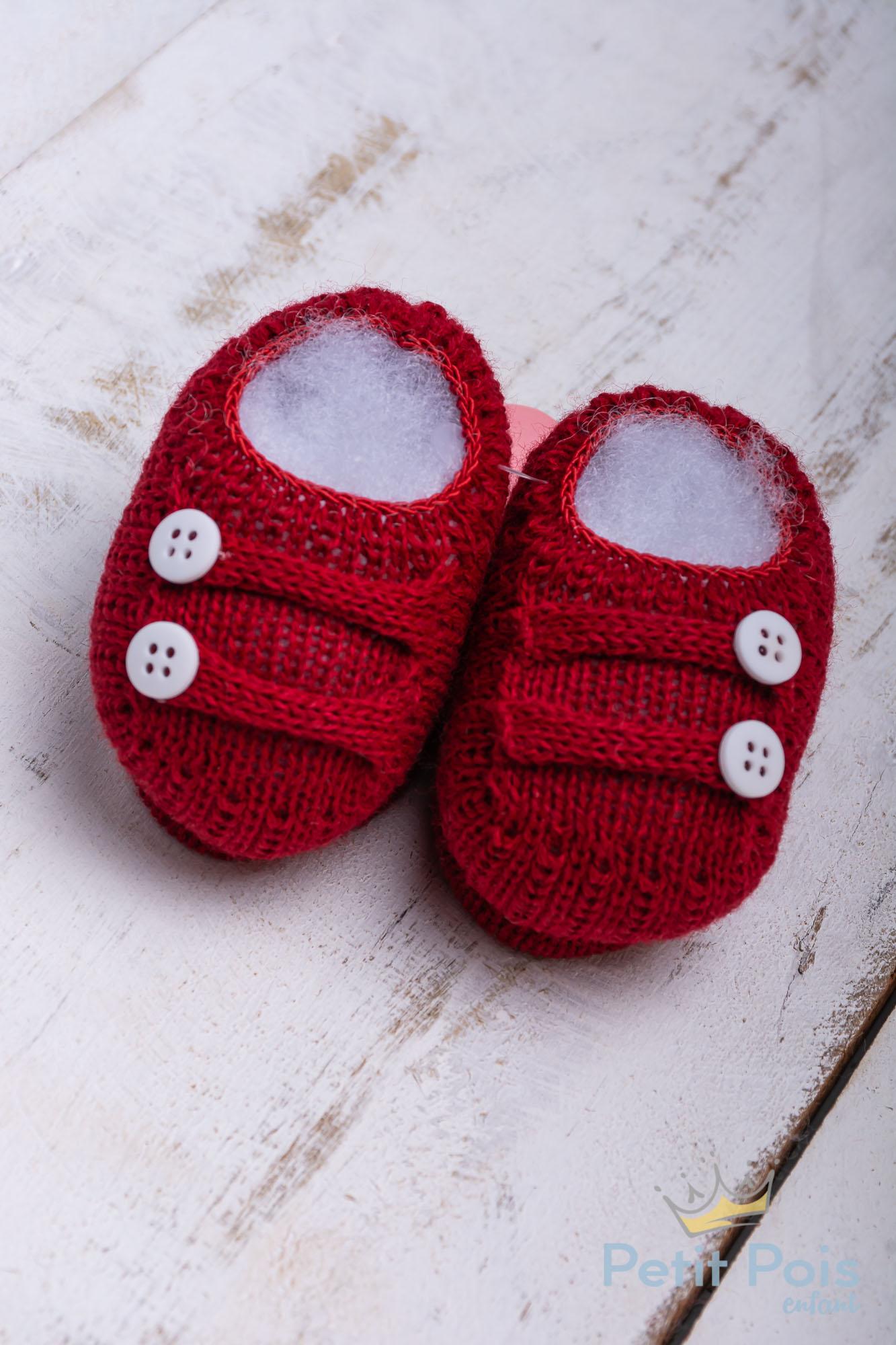Sapatinho bebe em tricot - vermelho