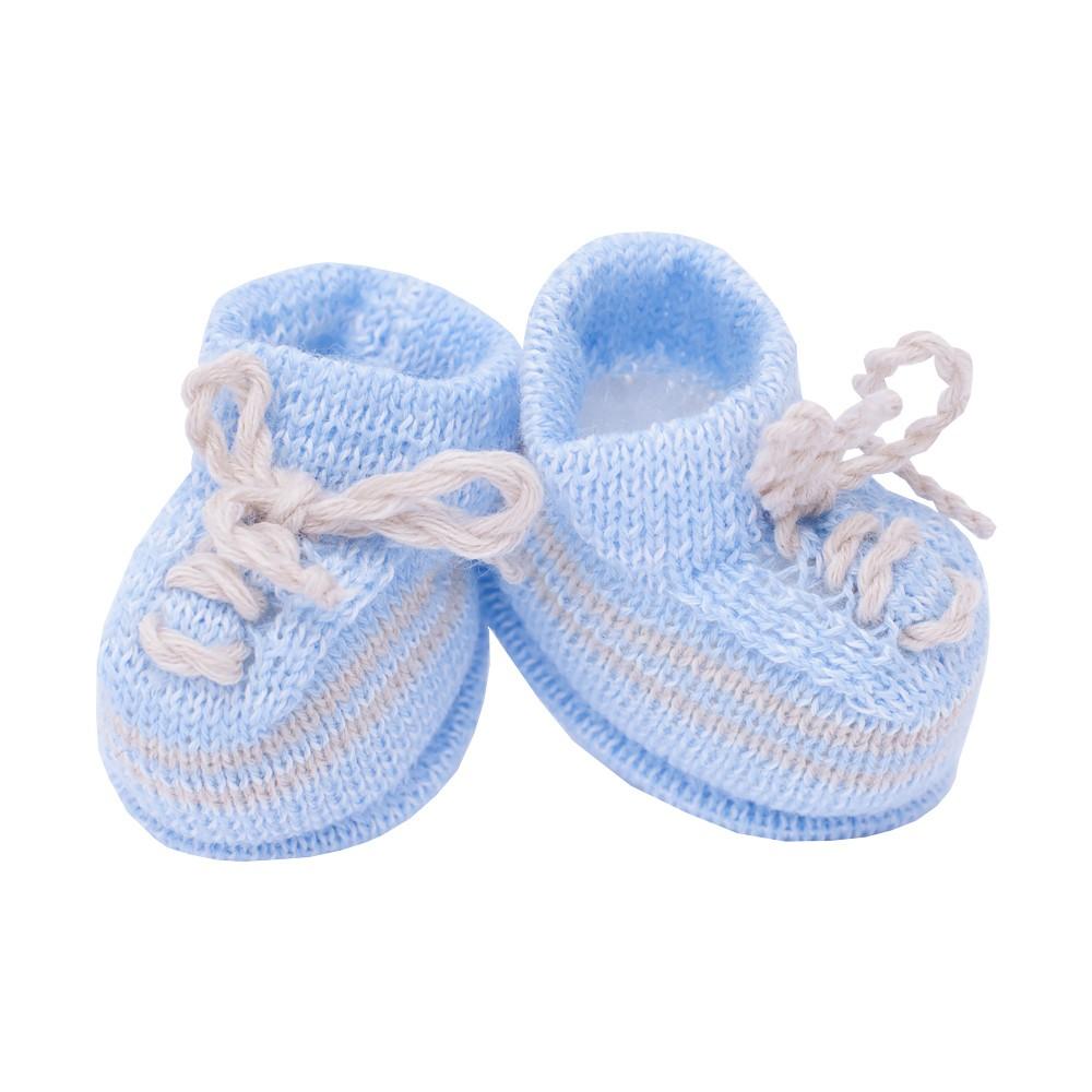 Sapatinho bebê em tricot - Azul bebê