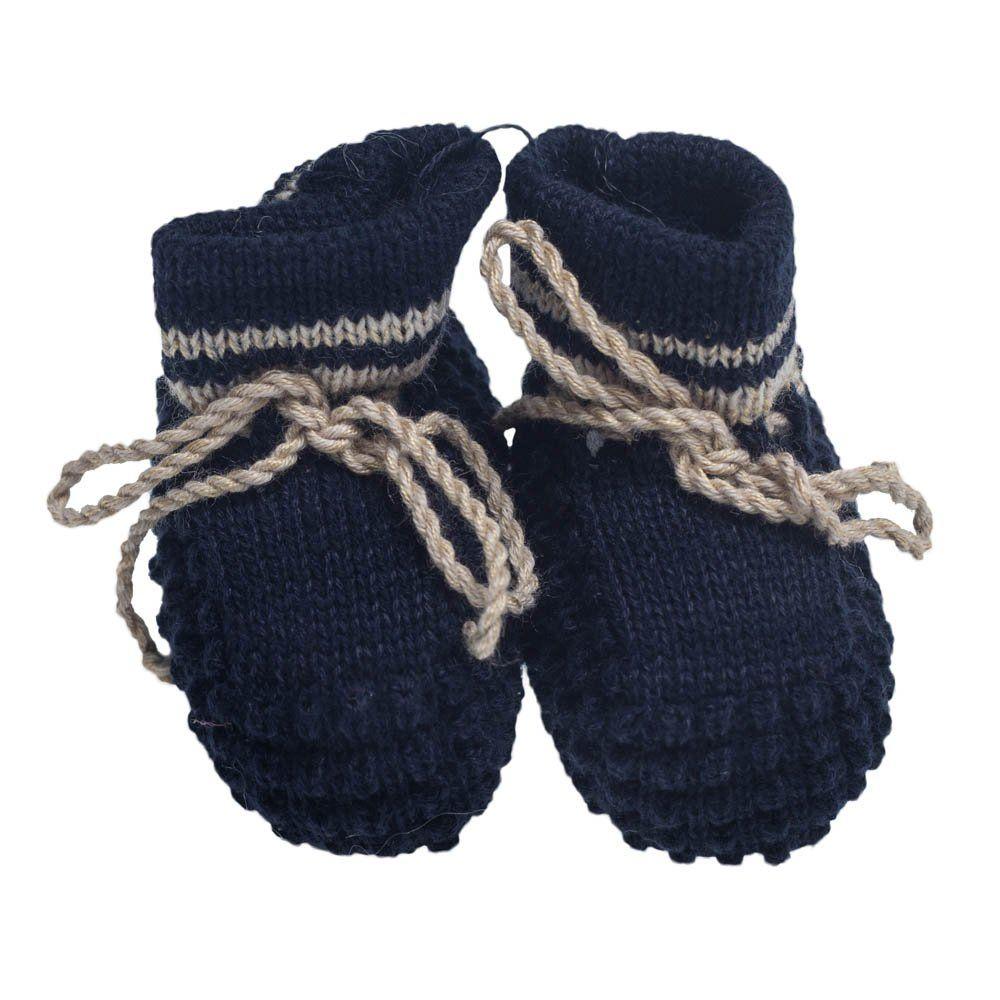 Sapatinho bebê em tricot  - Azul marinho e bege
