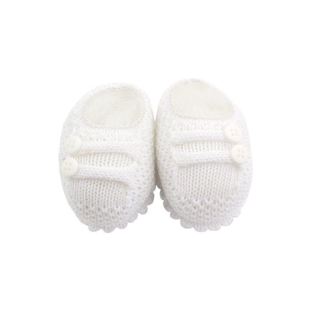 Sapatinho bebê em tricot 2 botões - Branco