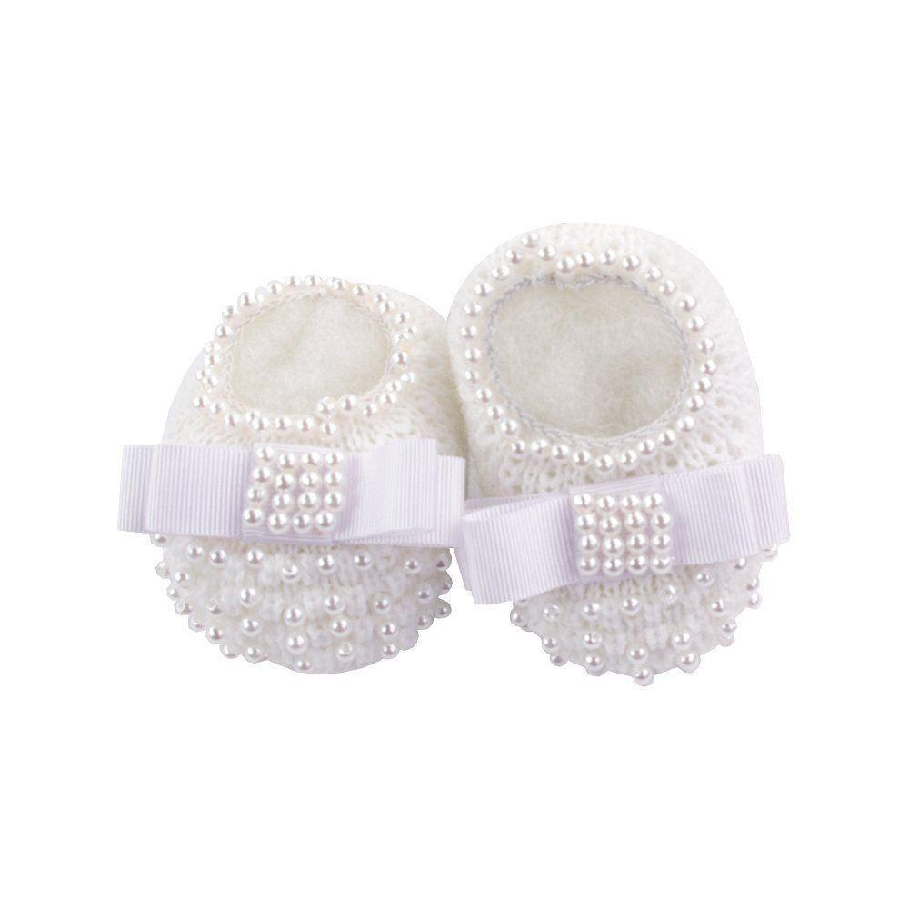 Sapatinho bebê em tricot com laço gorgurão e pérolas - Branco