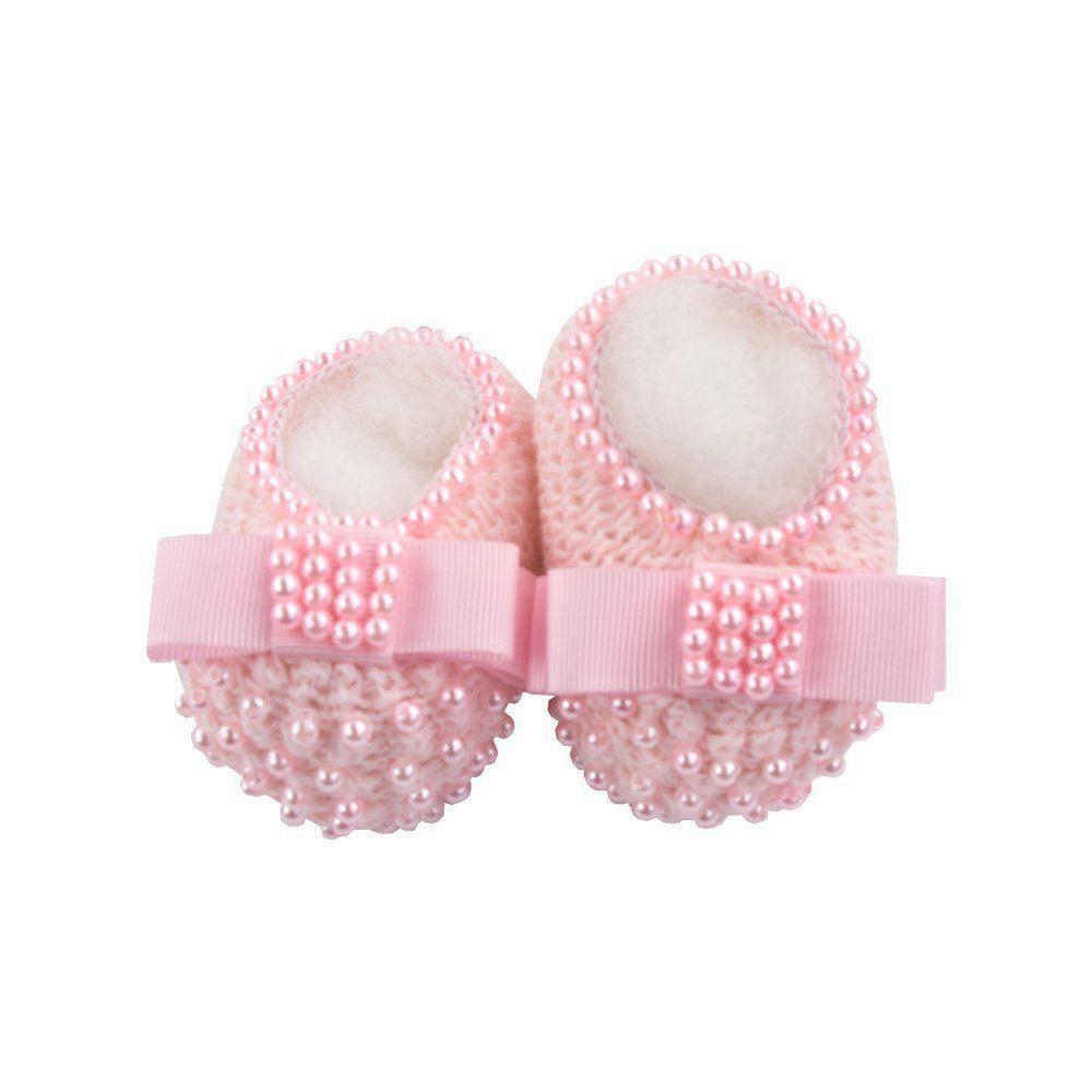 Sapatinho bebê em tricot com laço gorgurão e pérolas - Rosa sensação
