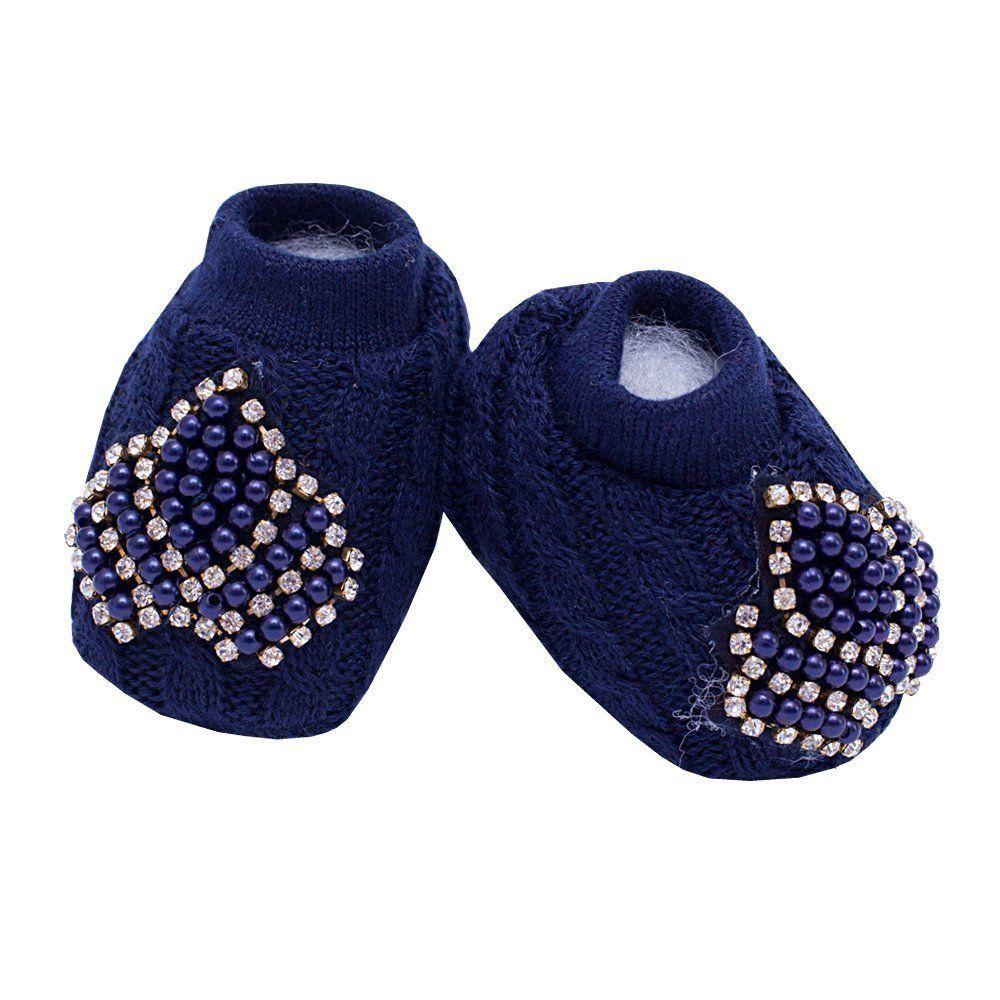 Sapatinho bebê em tricot coroa de pérolas e strass - Azul marinho
