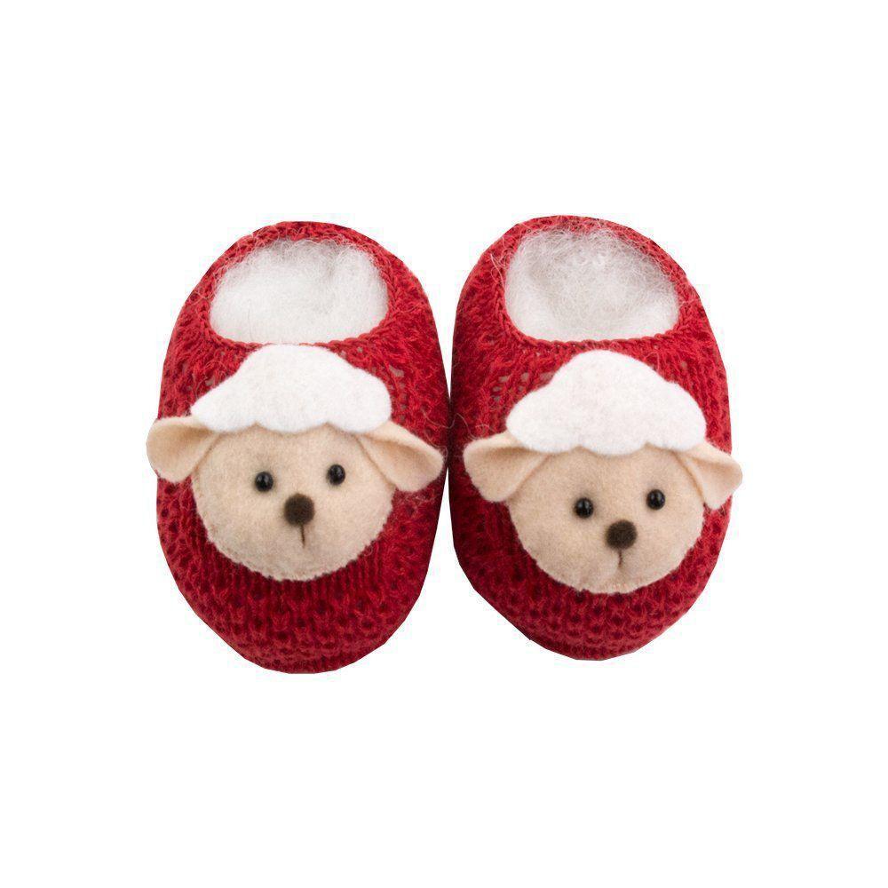 Sapatinho bebê em tricot ovelhinha - Vermelho red night
