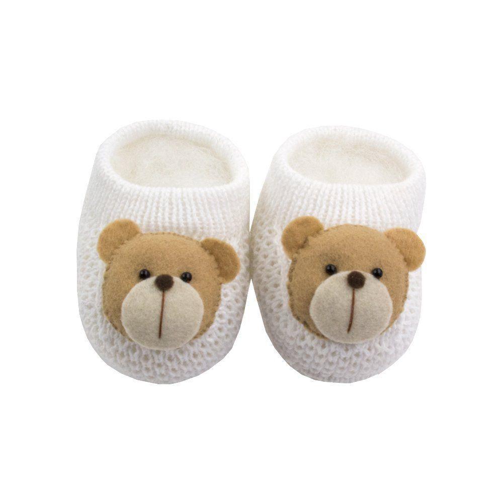 Sapatinho bebê em tricot ursinho - Branco