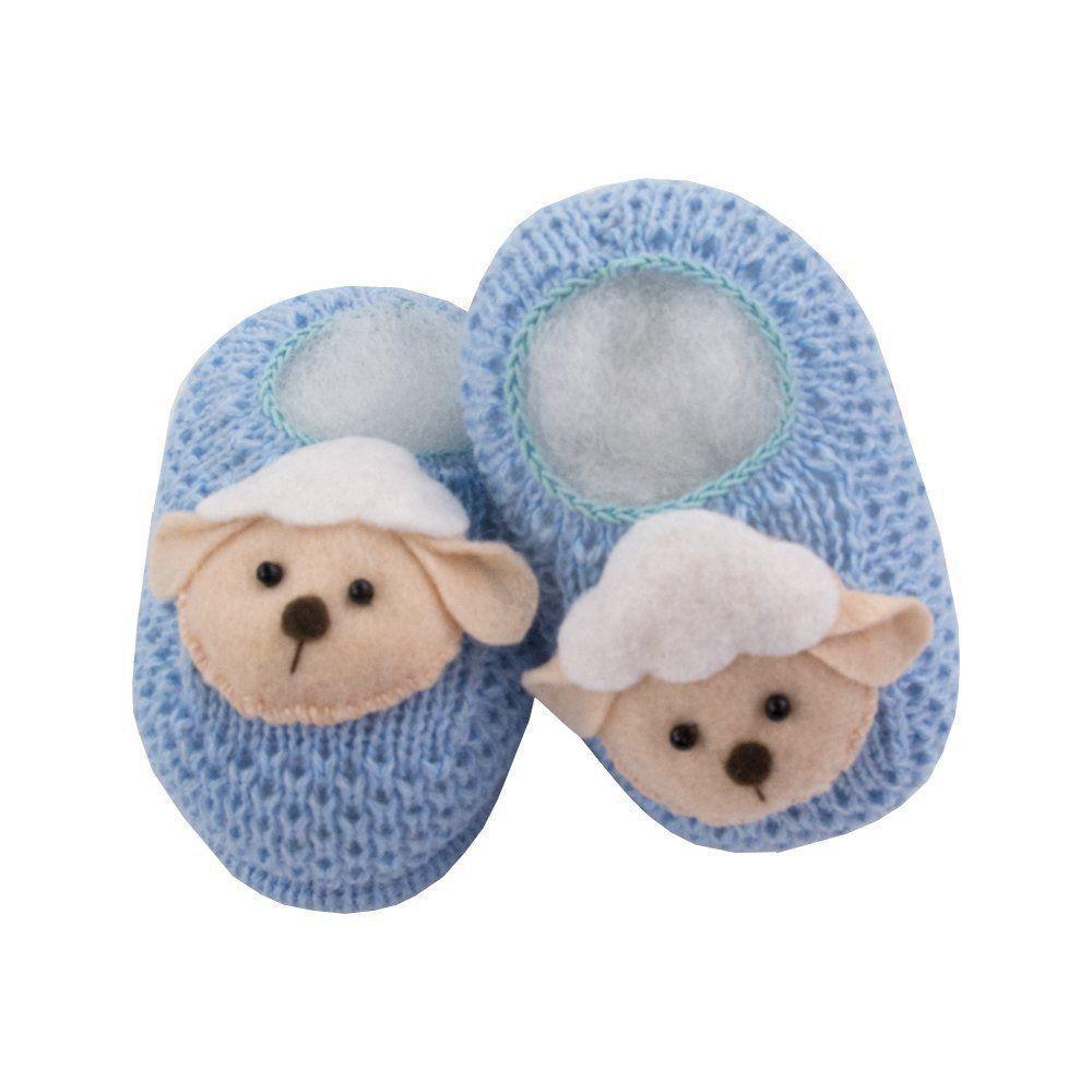 Sapatinho bebê em tricot ovelhinha - Azul bebê