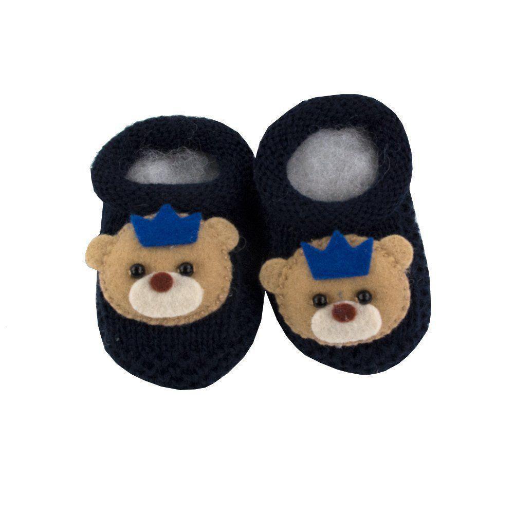0cfa23d82 Sapatinho bebê em tricot ursinho com coroa - Azul marinho - Petit Pois  Enfant