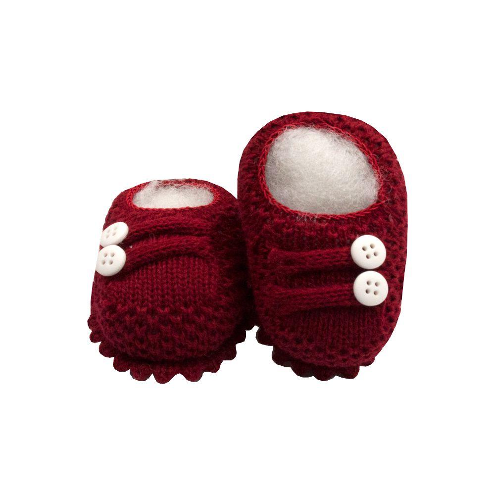 Sapatinho bebê em tricot 2 botões - Vermelho red night