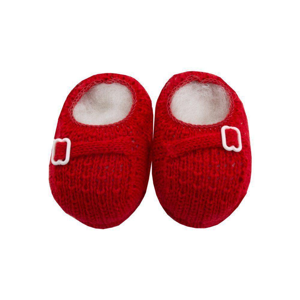 Sapatinho bebê em tricot fivela - Vermelho