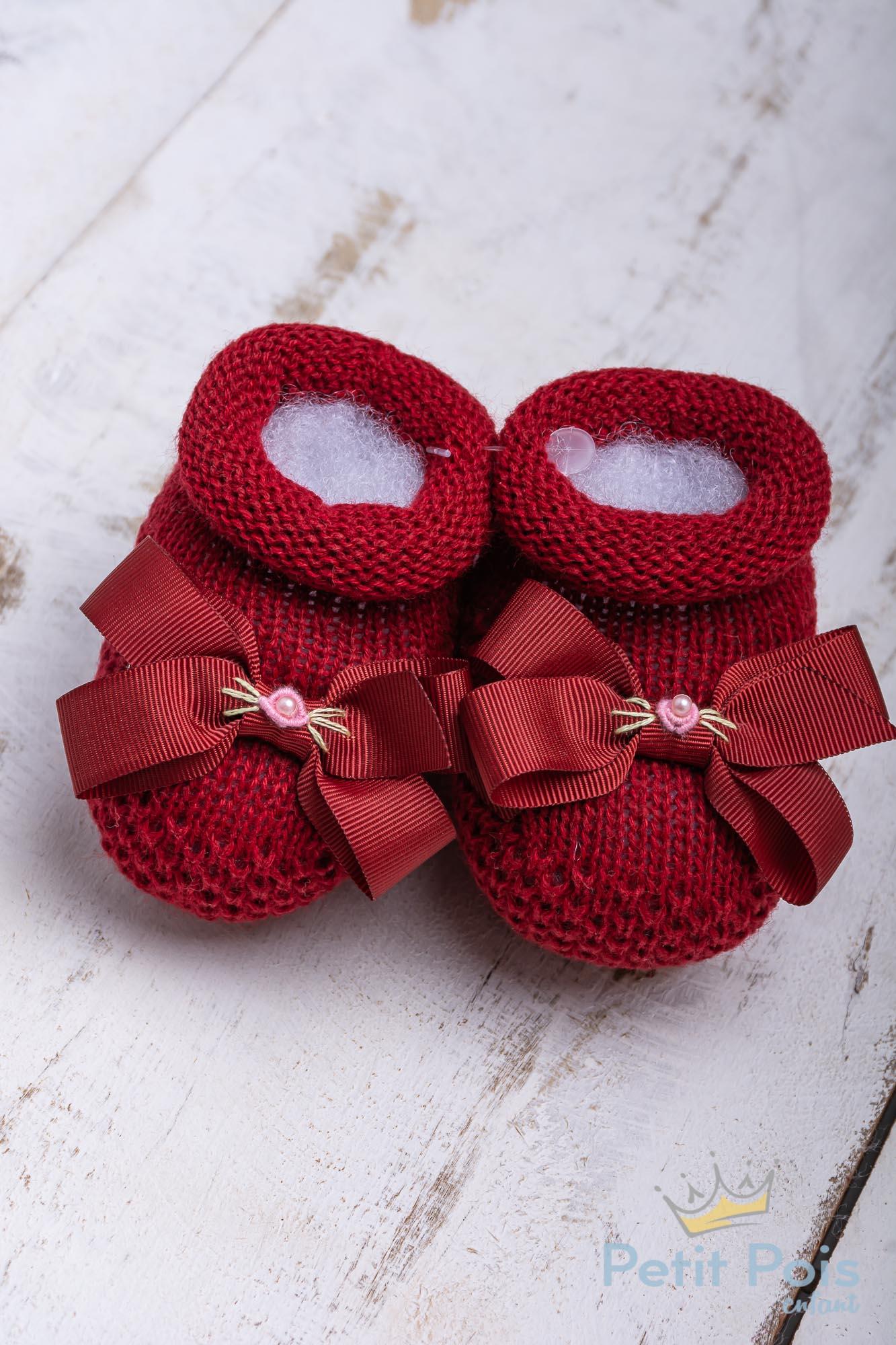 Sapatinho bebê laço gorgurão com flor - Vermelho