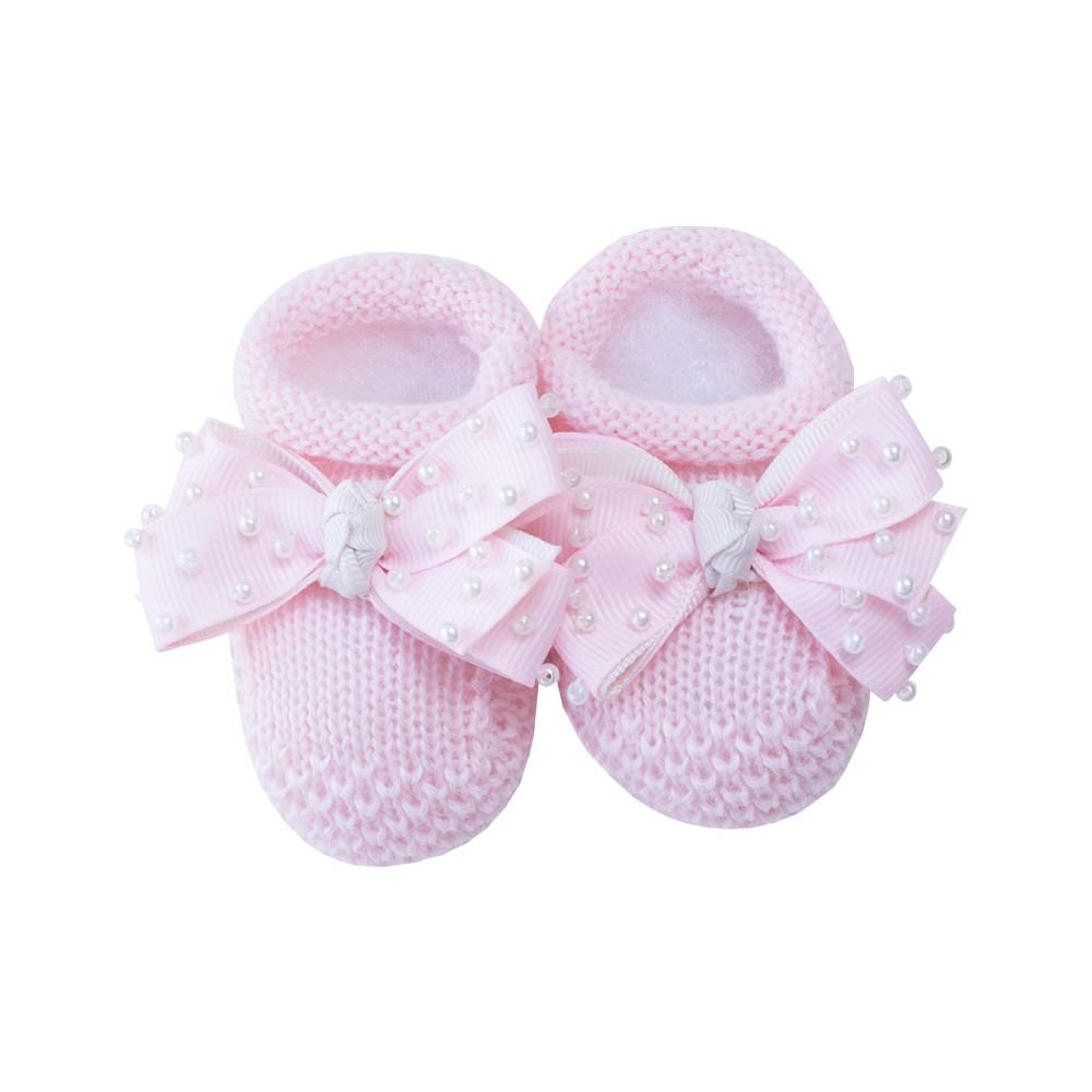 Sapatinho bebê laço gorgurão com pérolas - Rosa sensação