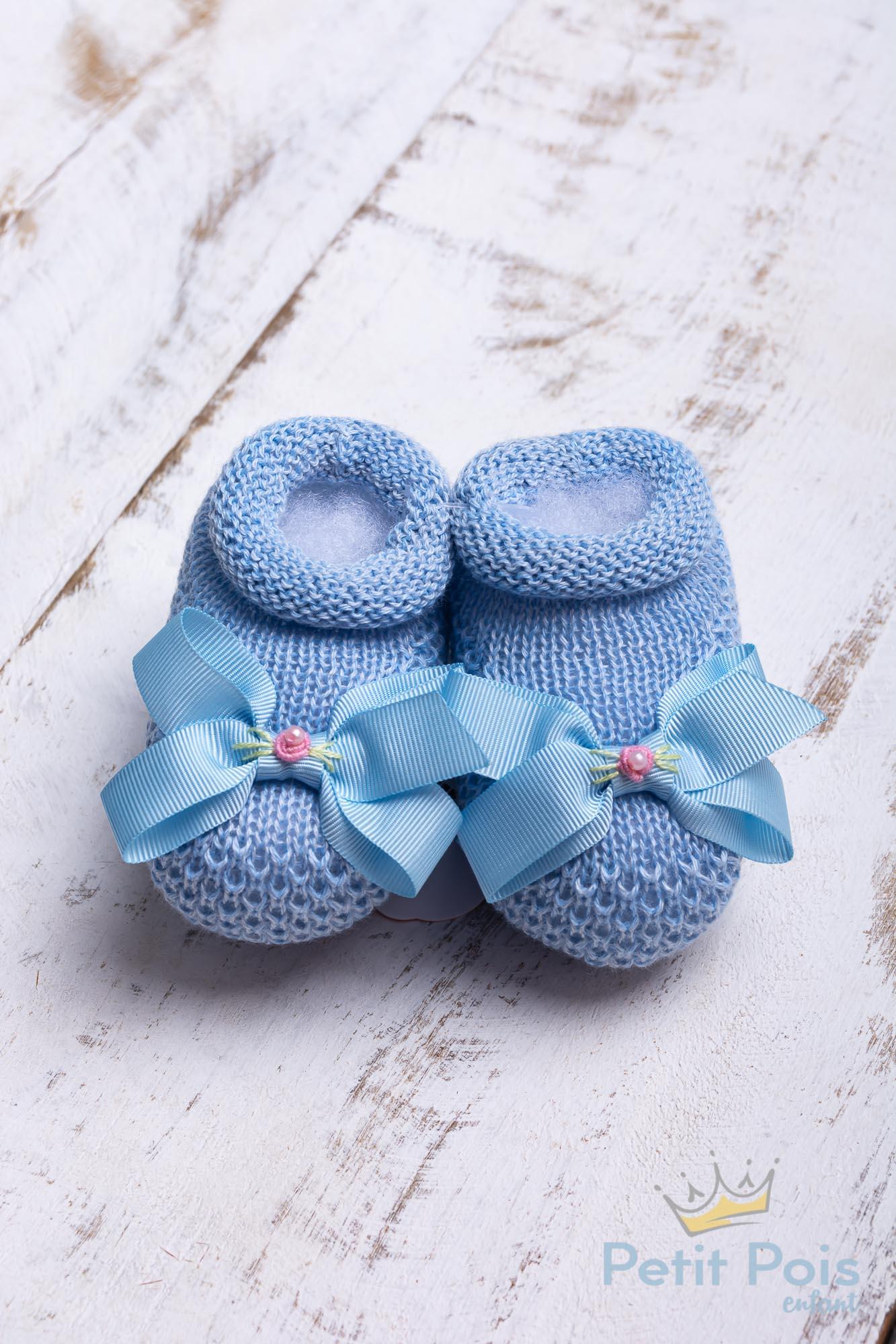 Sapatinho bebê laço gorgurão com flor - Azul bebê