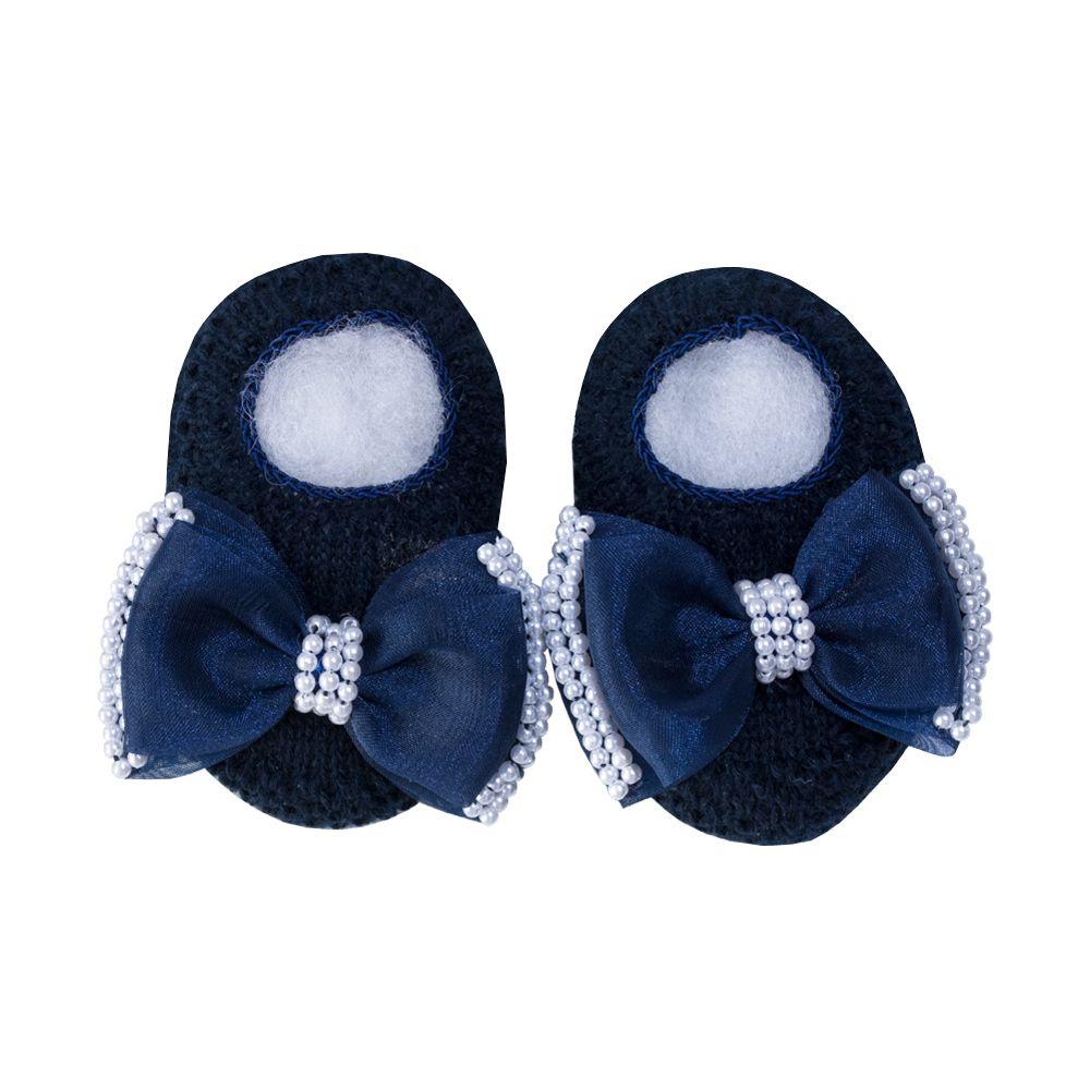 Sapatinho bebê laço organza e pérolas - Azul marinho