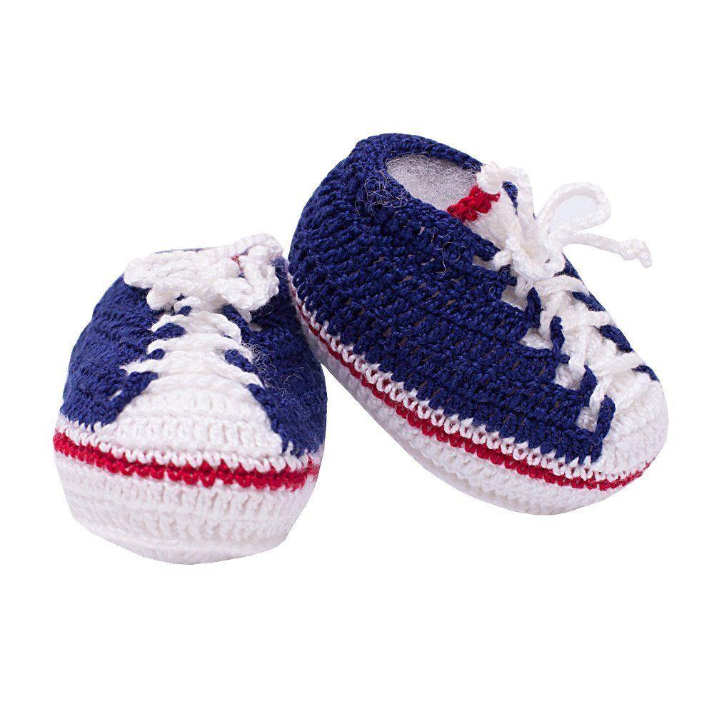 Sapatinho tênis em tricot - Azul marinho e branco