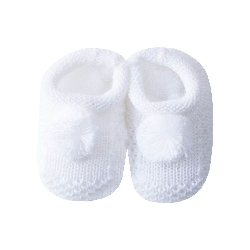 Sapatinho bebê pompom - Branco