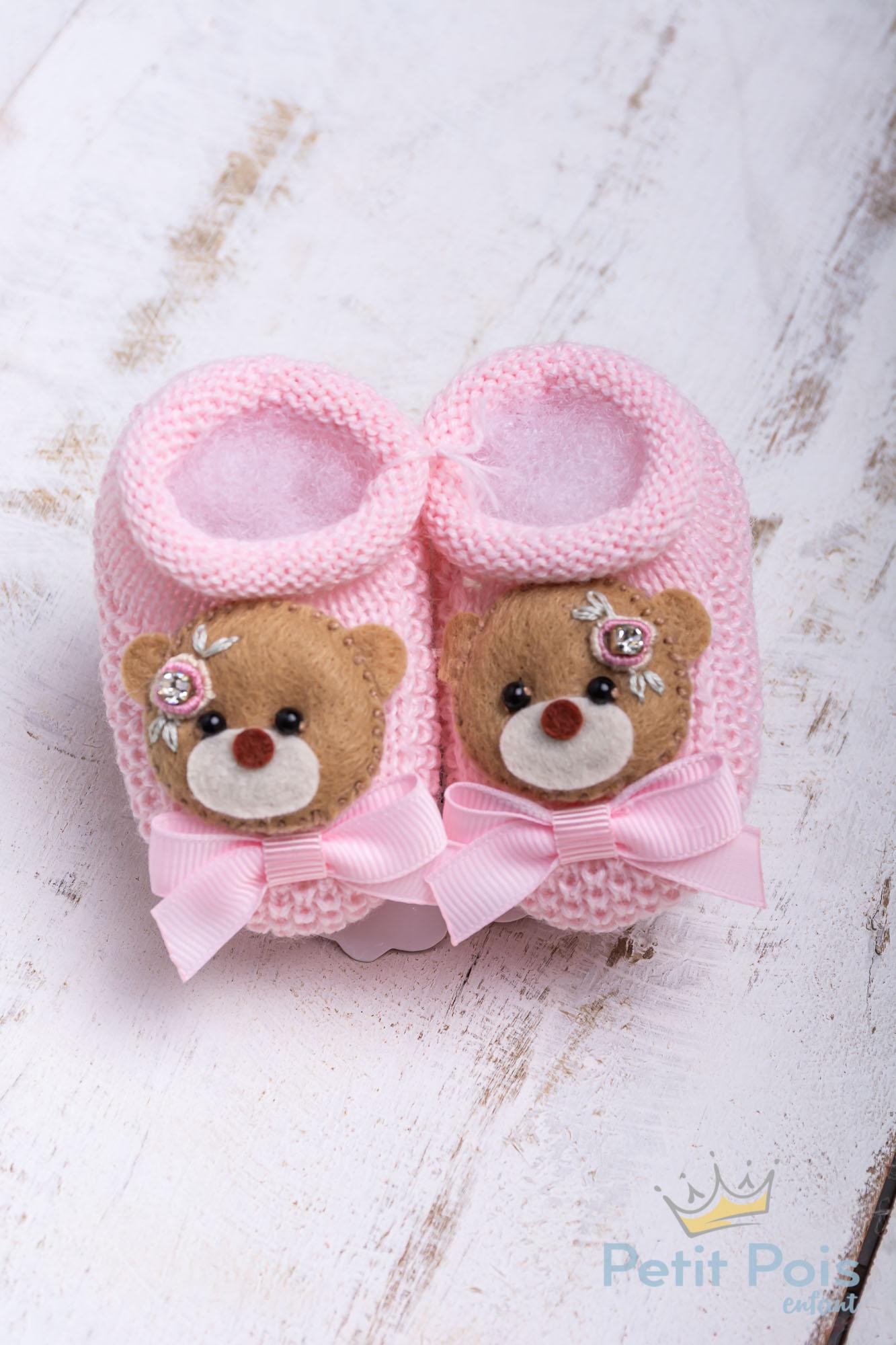 Sapatinho bebê ursinha com laço - Rosa sensação