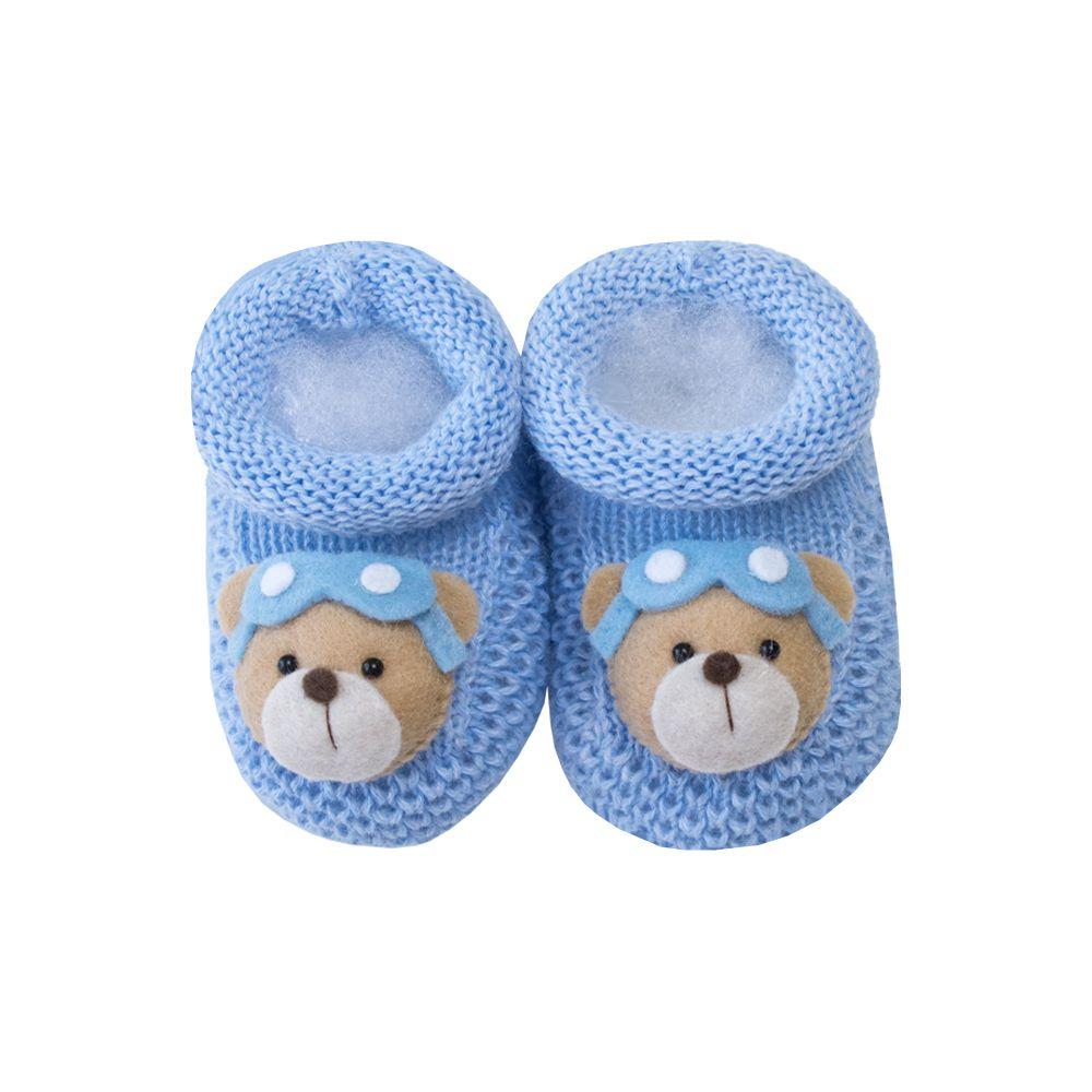 Sapatinho bebê ursinho aviador - Azul bebê