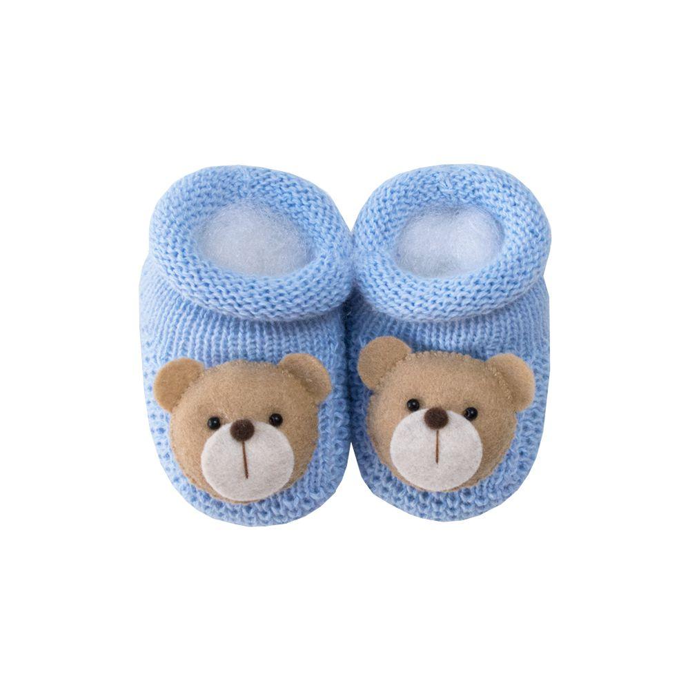 Sapatinho bebê em tricot ursinho - Azul bebê