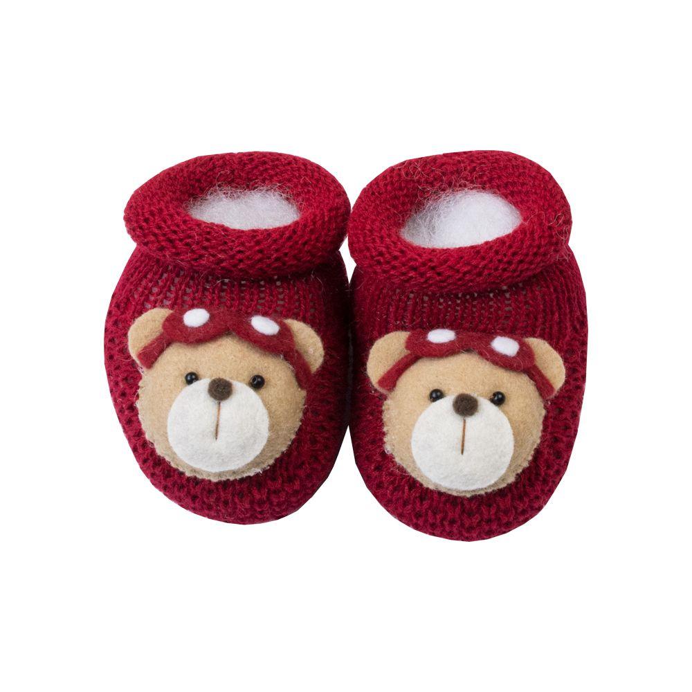 Sapatinho bebê urso aviador - Vermelho red night