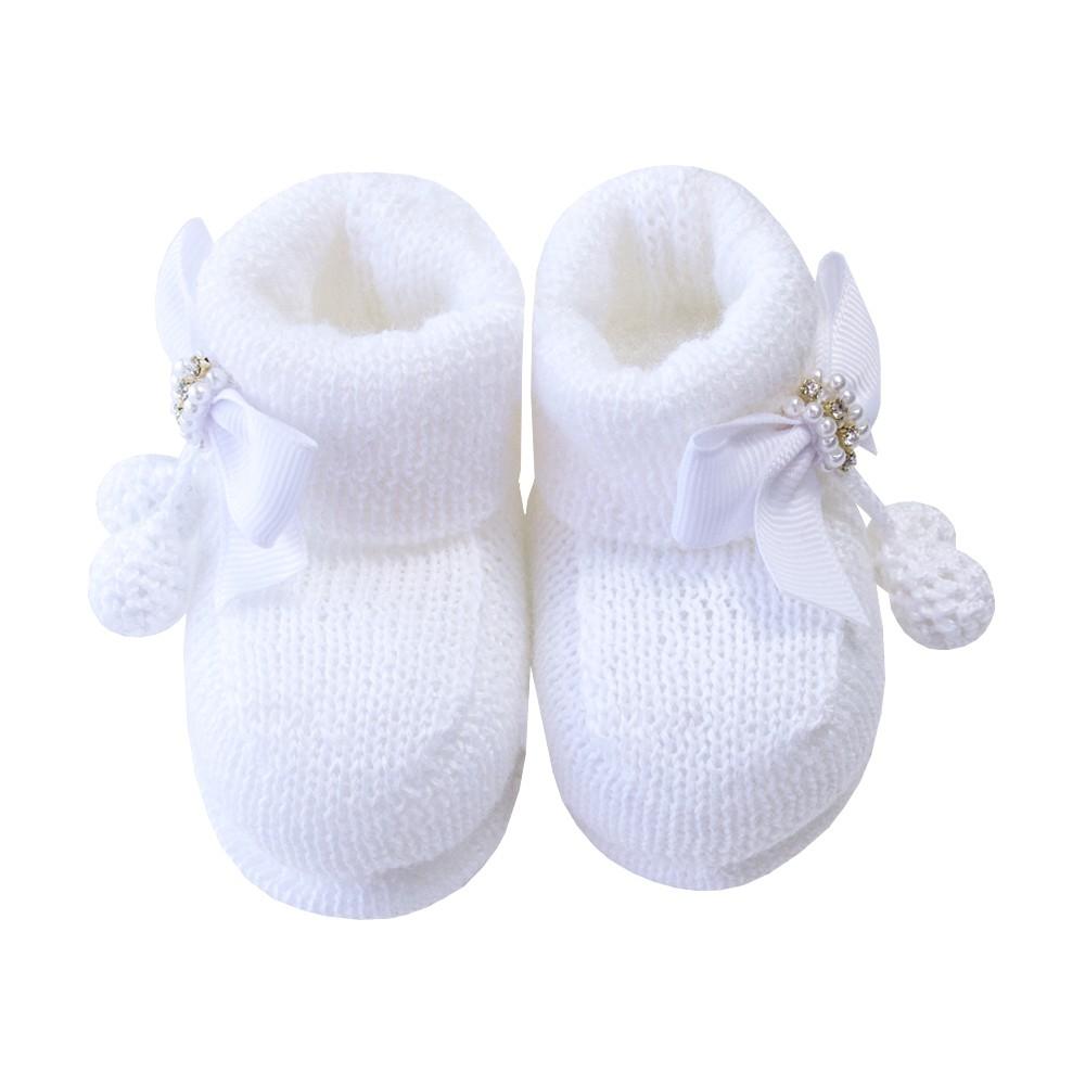 Sapatinho botinha bebê laço em gorgurão - Branco