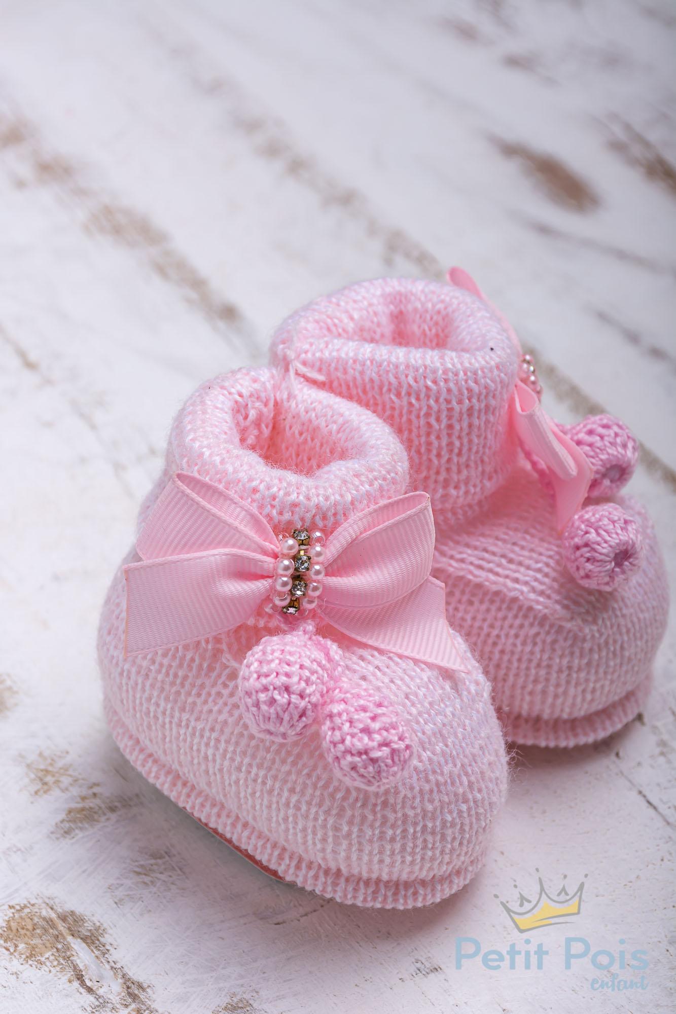 Sapatinho botinha bebê laço em gorgurão - Rosa sensação
