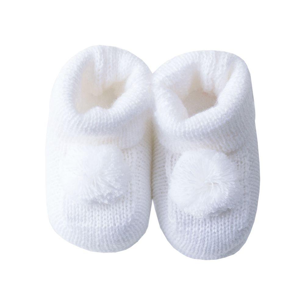 Sapatinho botinha bebê pompom - Branco