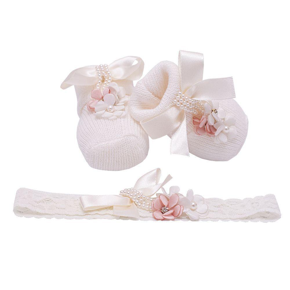 Sapatinho bebê com faixa - Marfim