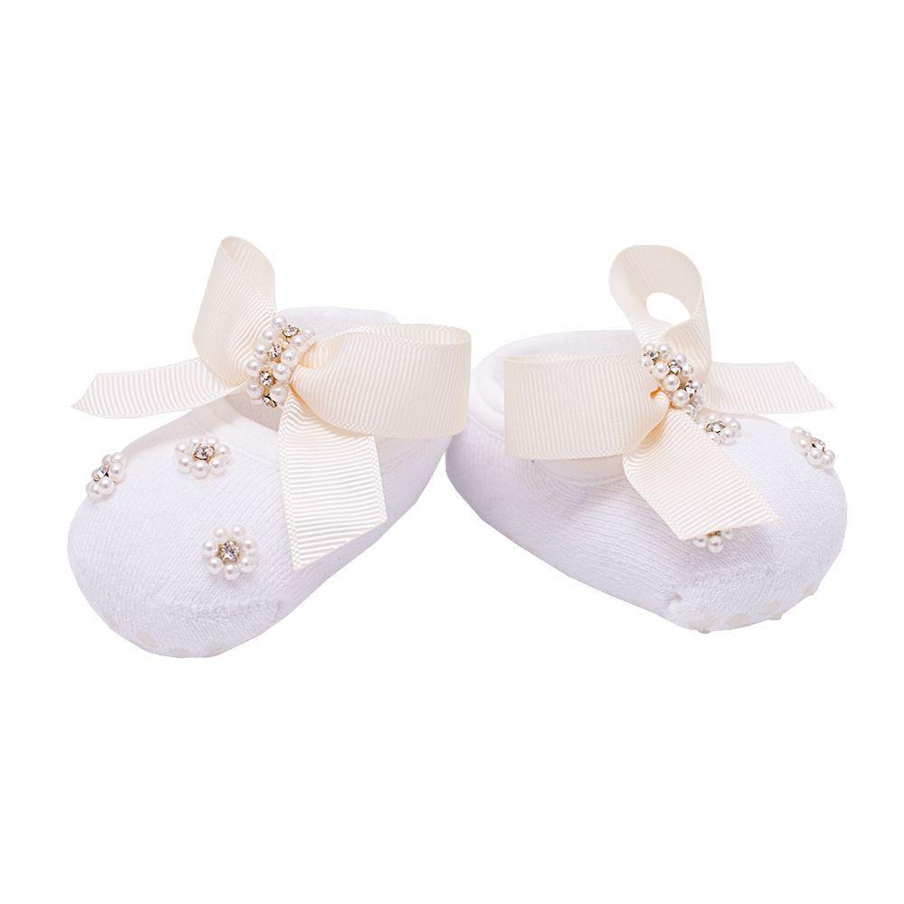 Sapatinho bebê de meia - Branco e marfim