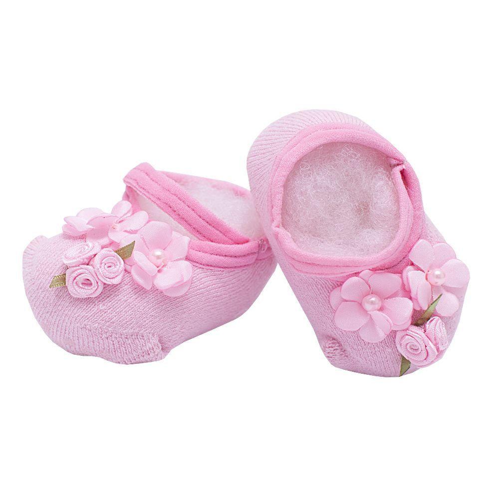 Sapatinho bebê de meia com flores - Rosa