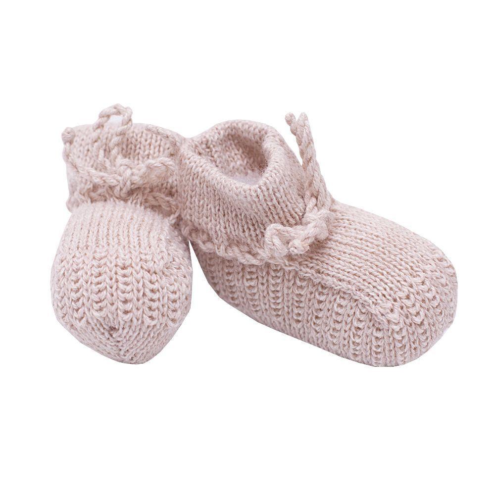 Sapatinho bebê em tricot - Bege