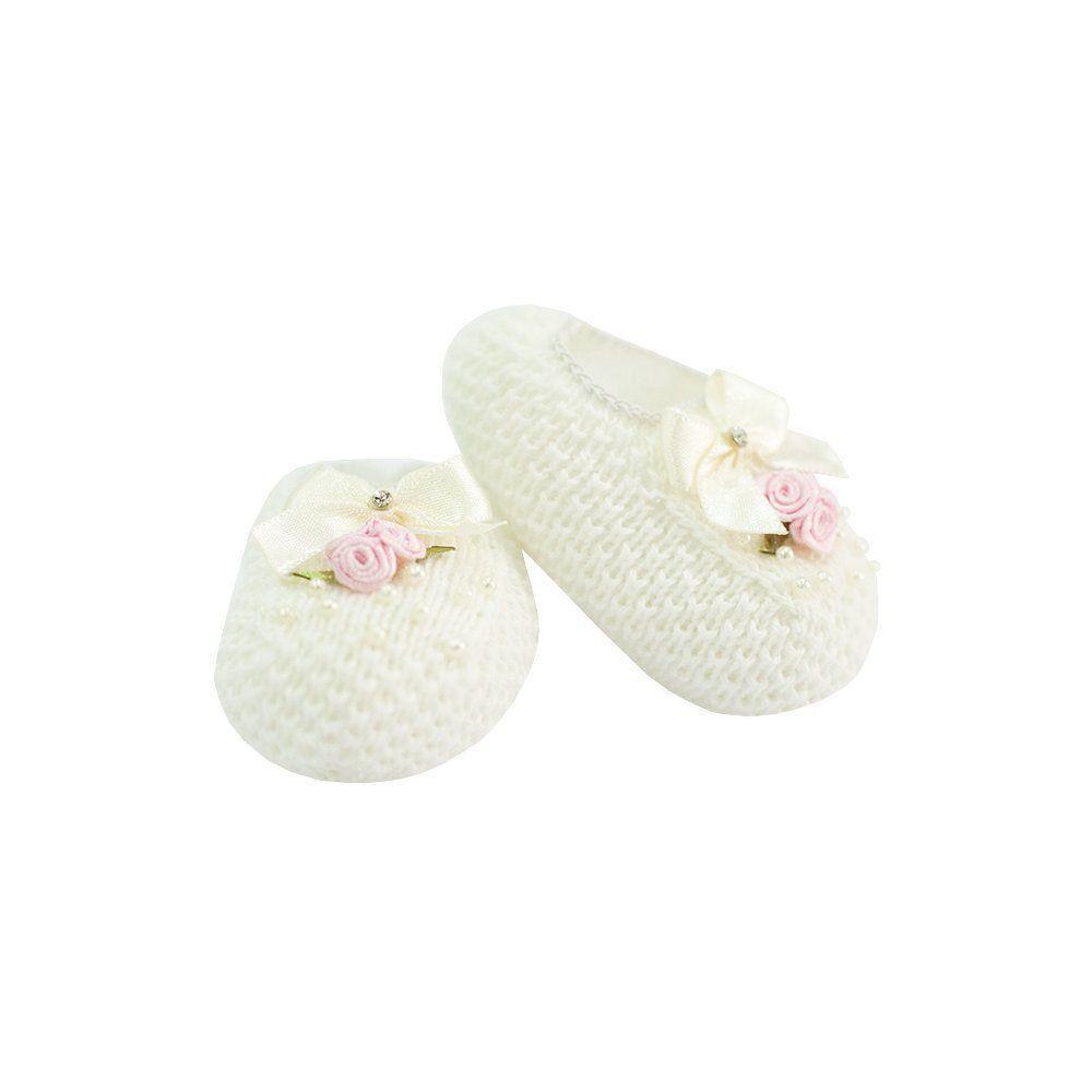 Sapatinho em tricot com flor - Marfim