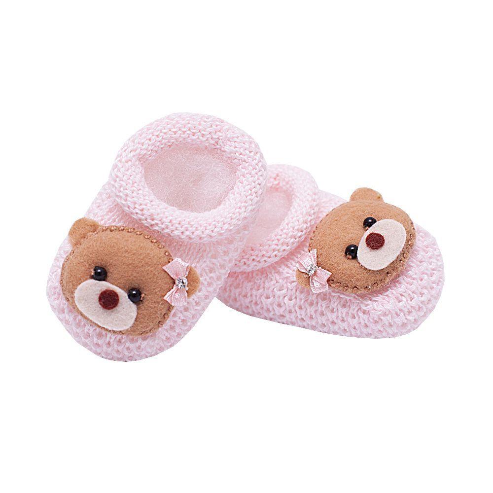 Sapatinho bebê em tricot - Rosa