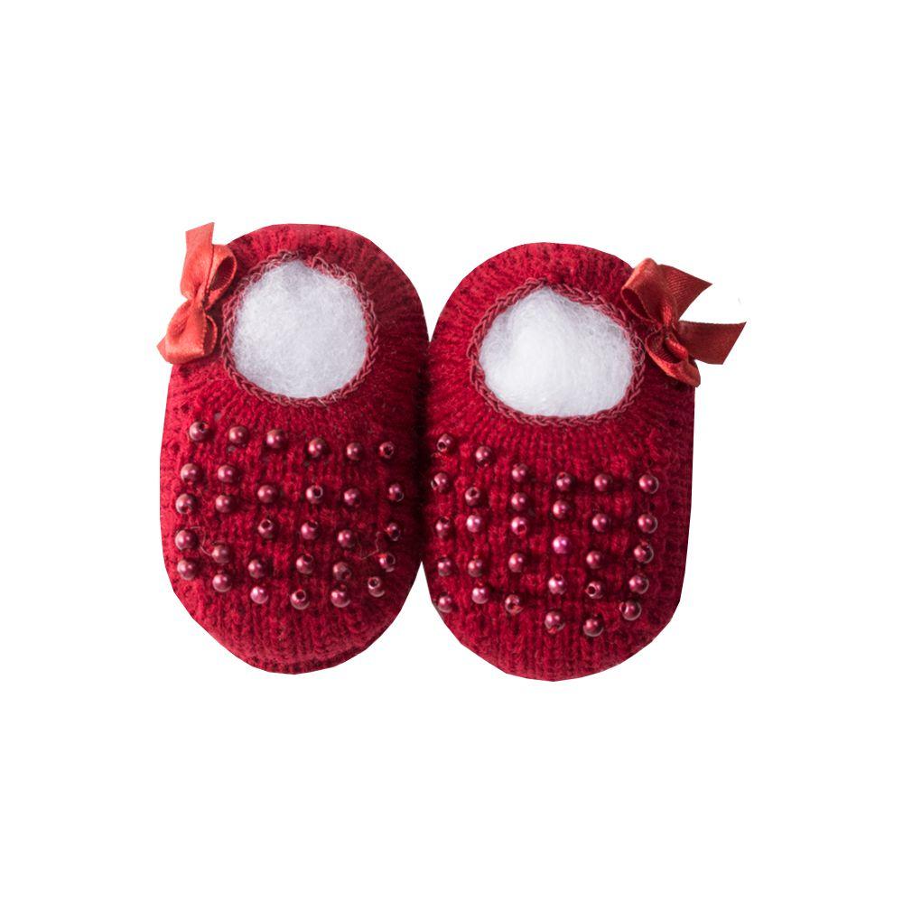 Sapatinho bebê com pérolas - Vermelho red night