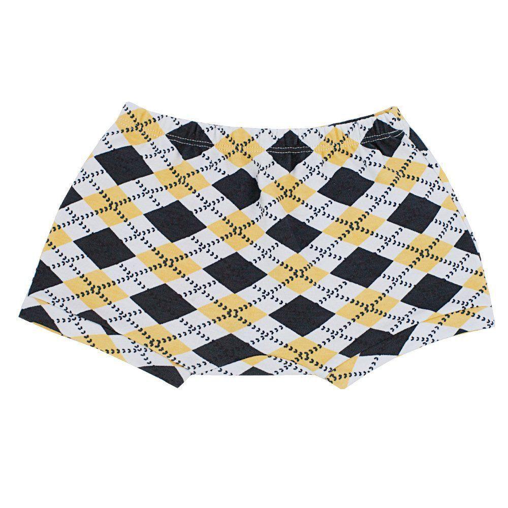 Short bebê losangos - Branco, azul marinho e amarelo