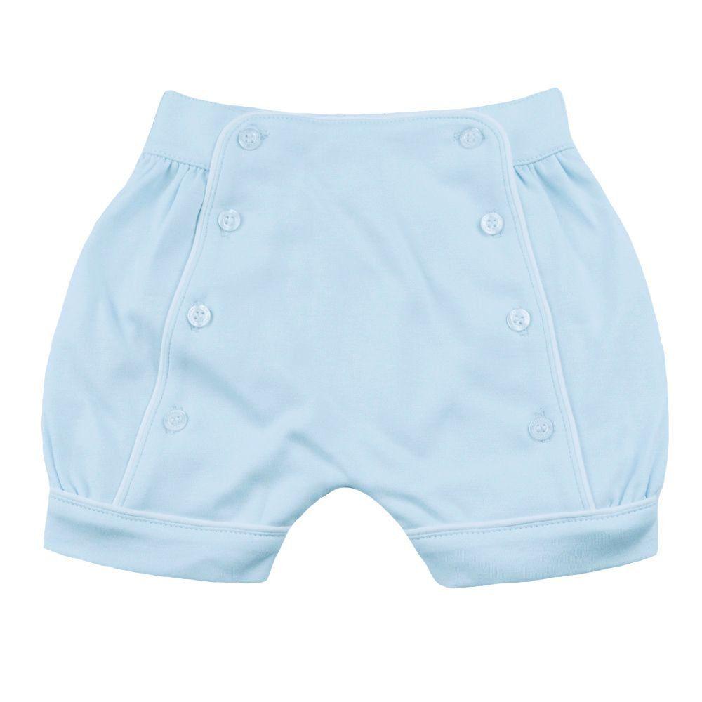 Short bebê com botões - Azul bebê