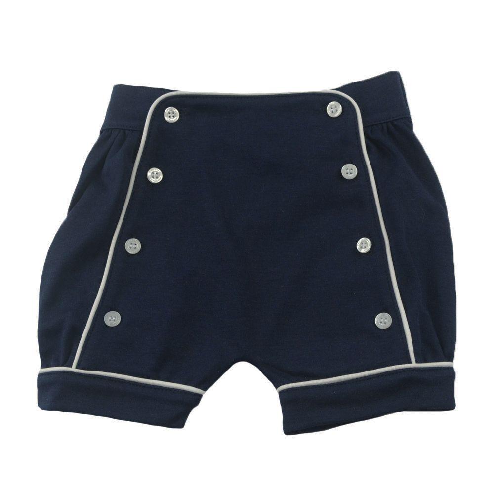 Short bebê com botões - Azul marinho