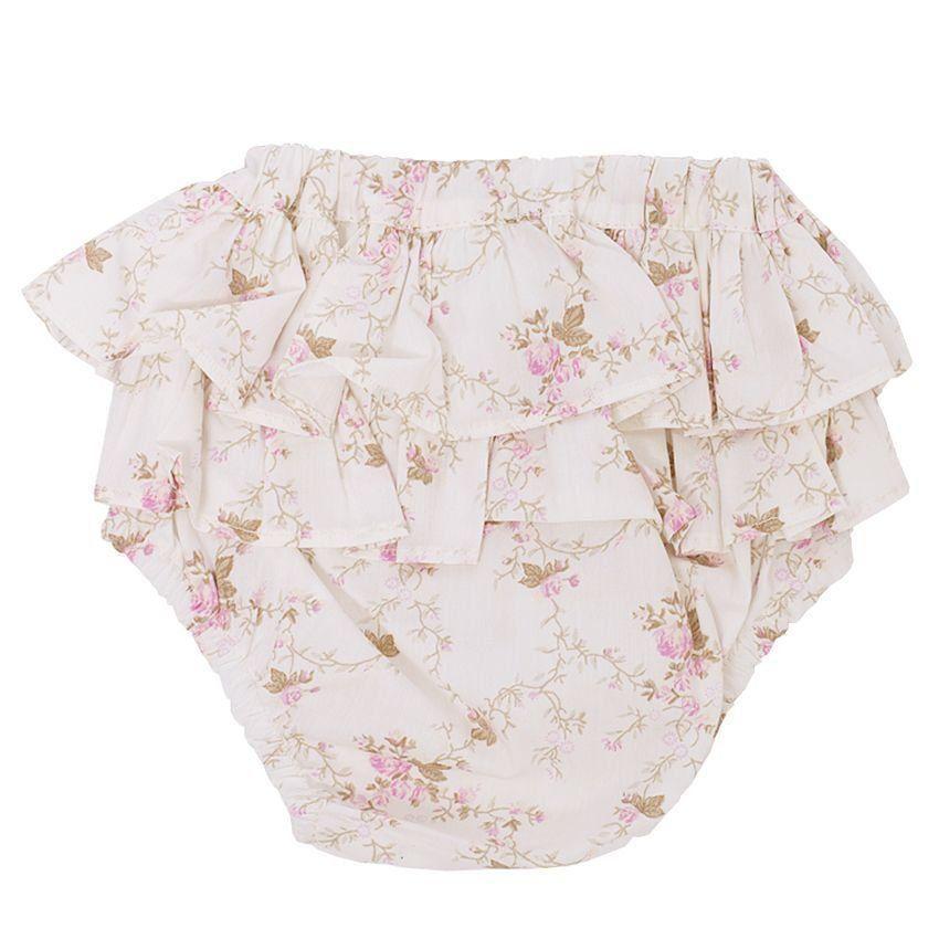 Tapa fralda bebê babados floral - Marfim