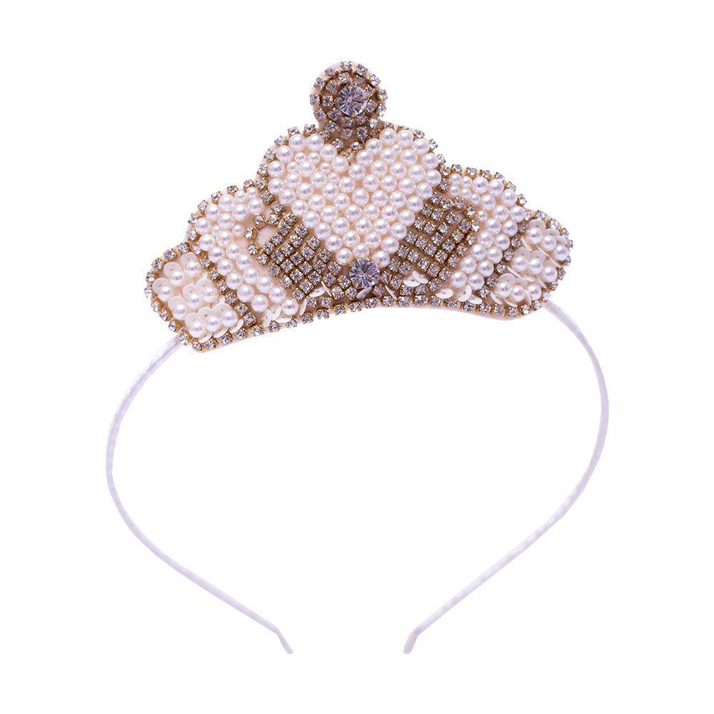 Tiara bebê bordada com coroa em pérolas e strass - Marfim