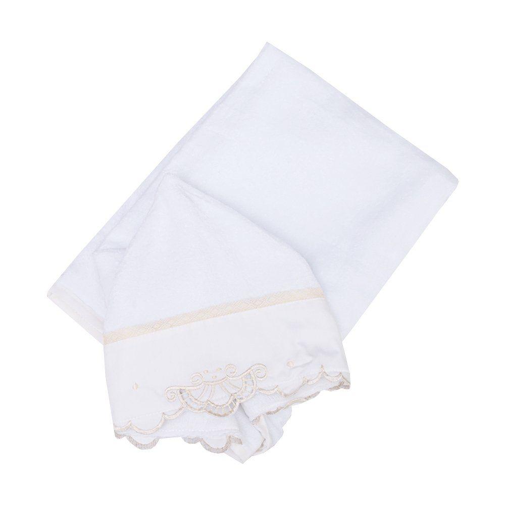 Toalha de banho bebê feminina - Branco e marfim