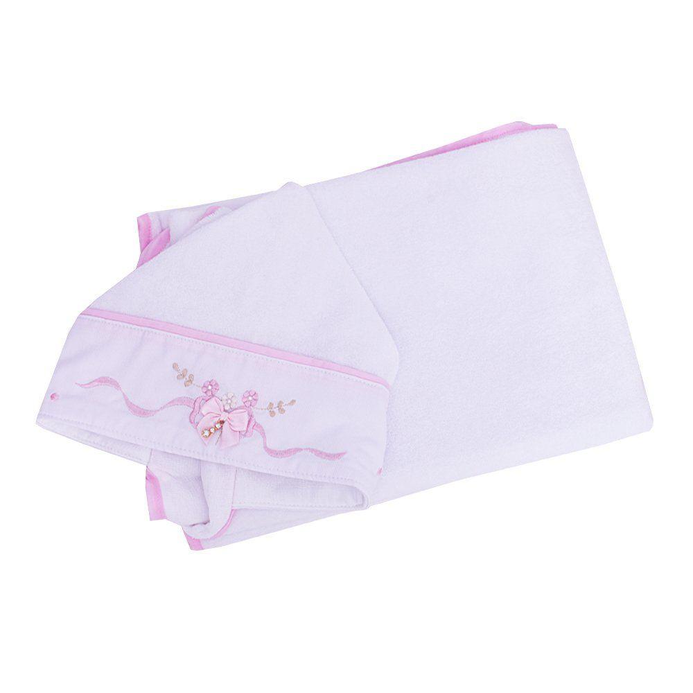 Toalha de banho bebê feminina - Branco e rosa