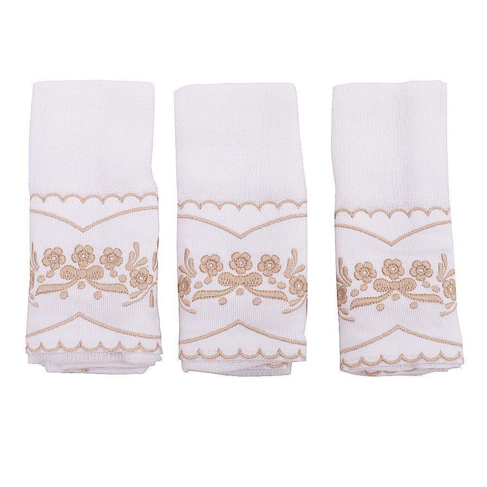 Toalha de boca bordada de flores kit com 3 peças  - Branco/Rolex