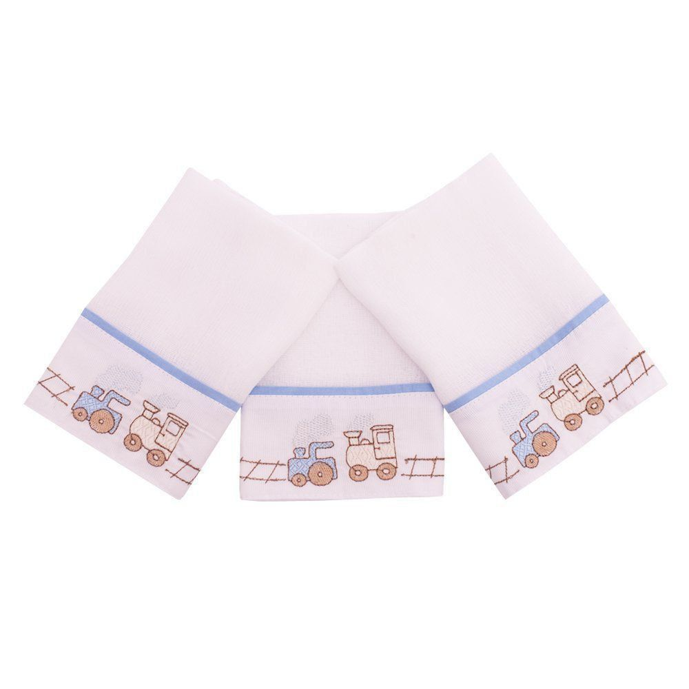 Toalha de boca kit com 3 peças - Branco e azul bebê
