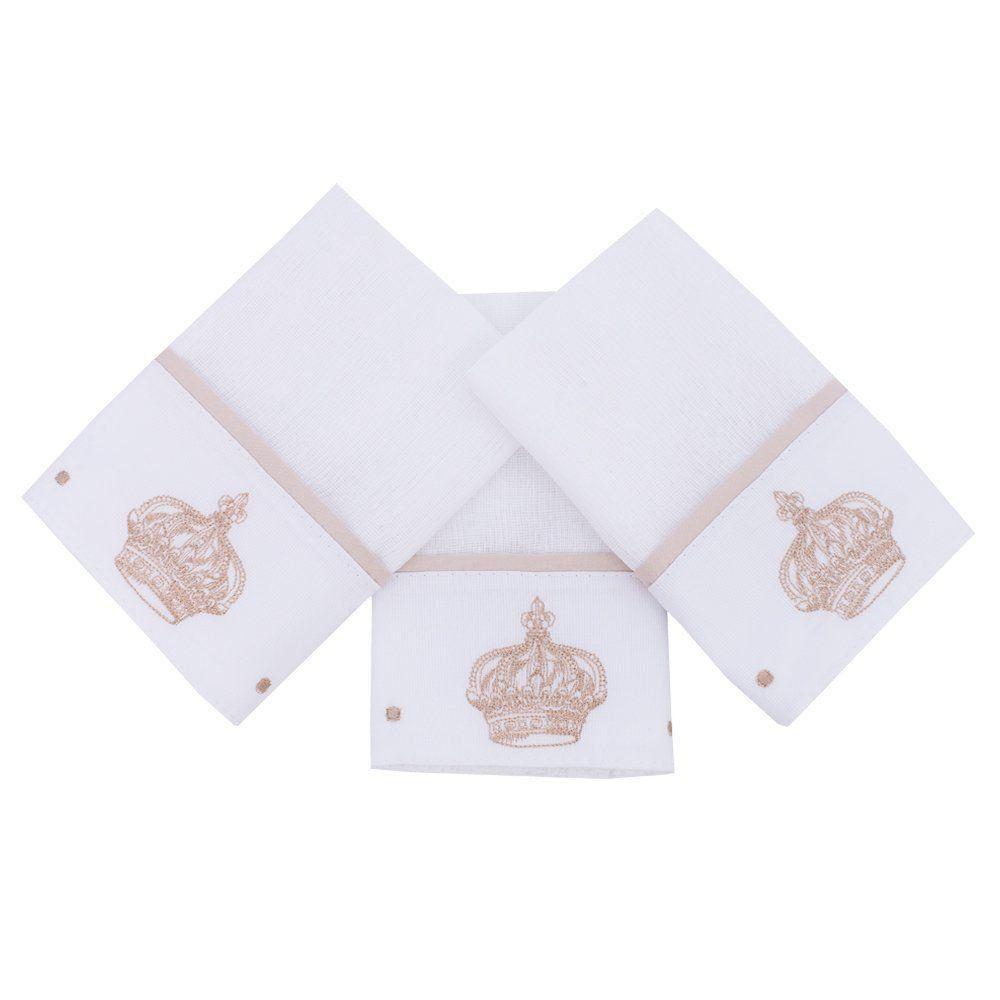 Toalha de boca kit com 3 peças - Branco e bege