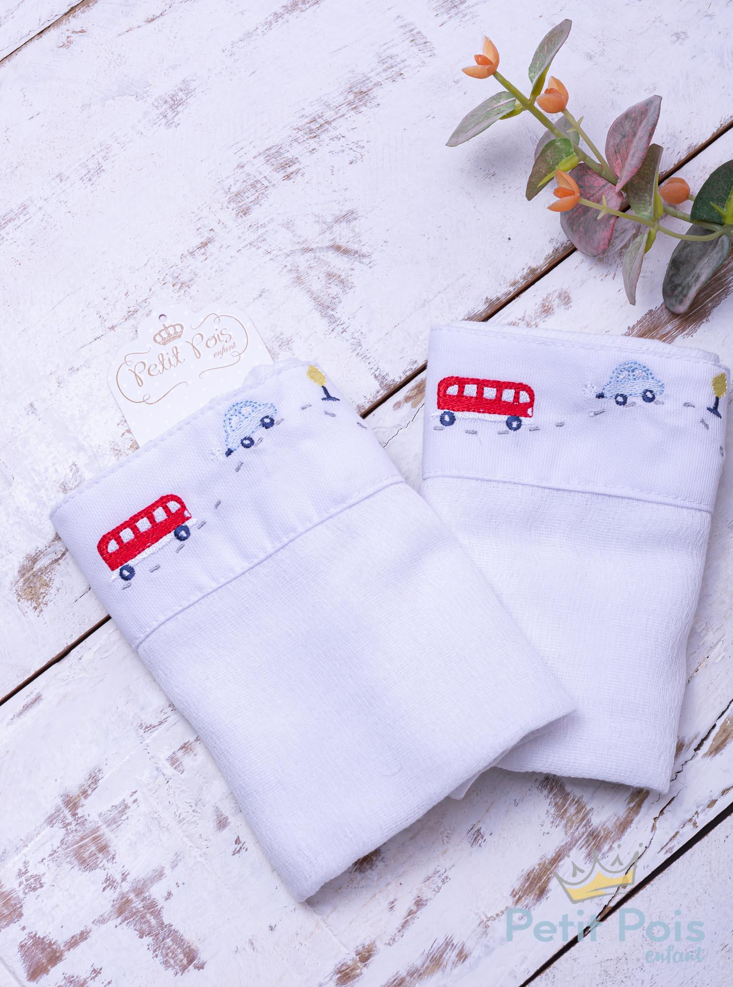Toalha de ombro carrinhos - Branco