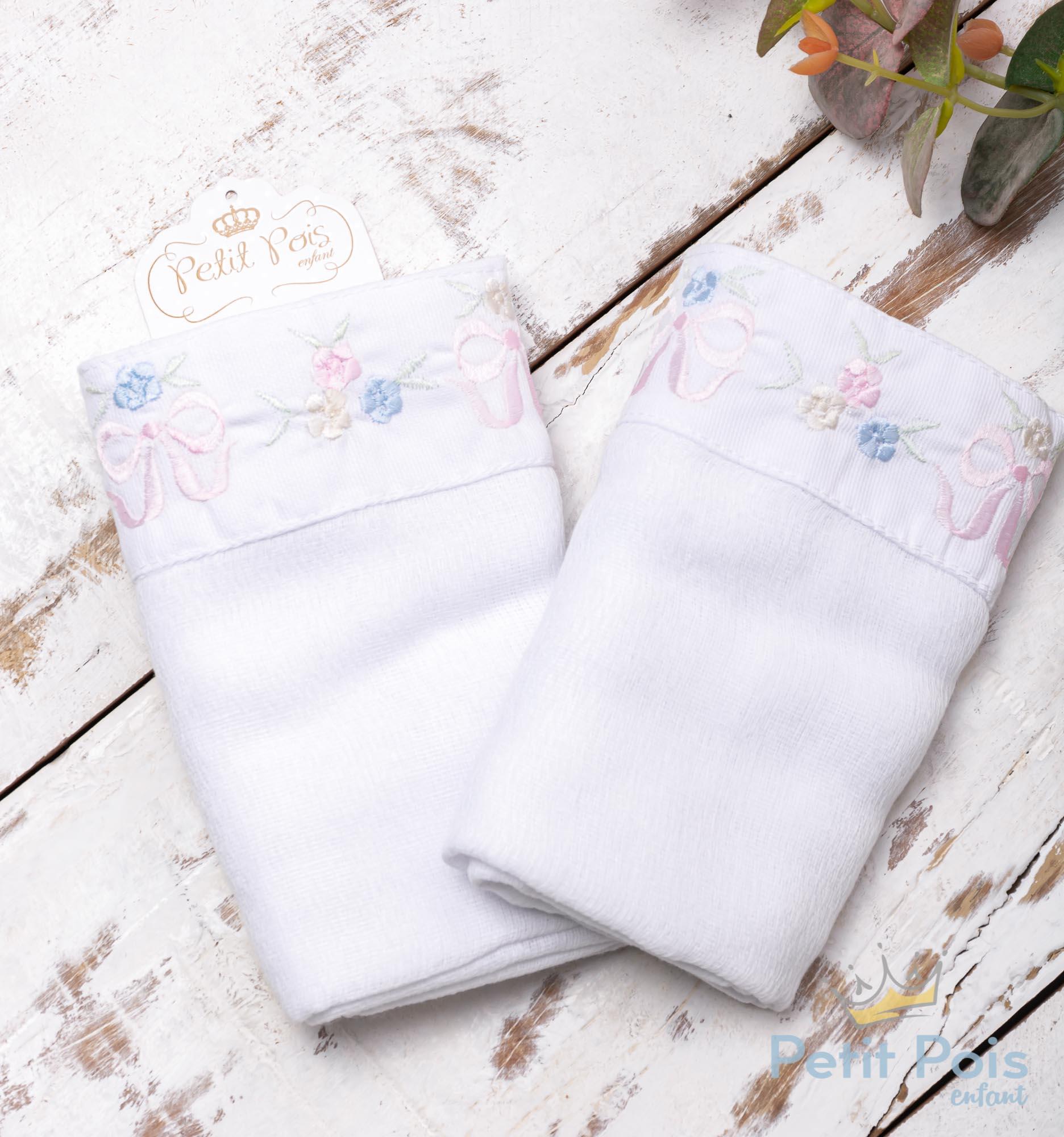 Toalha de ombro floral - Branco