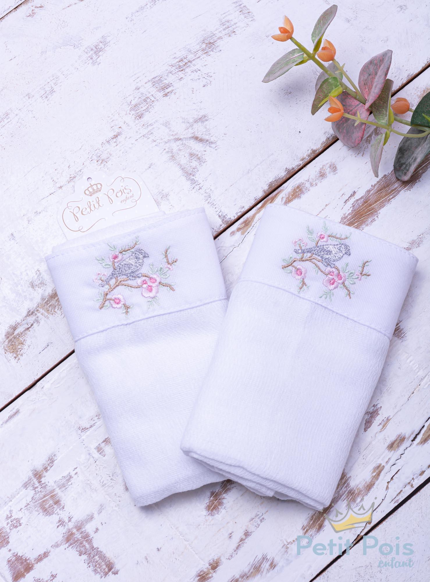 Toalha de ombro pássaro - Branco e rosa