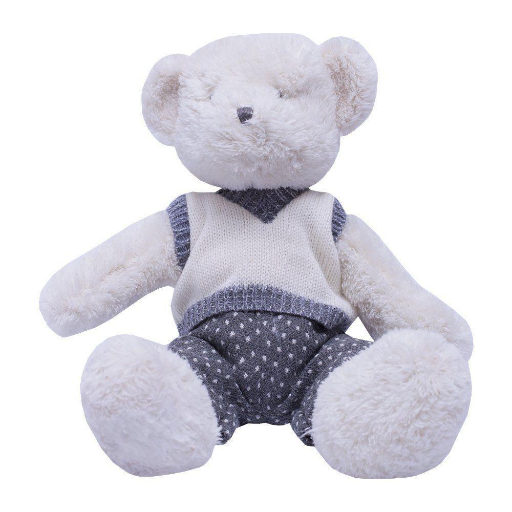 Ursinho de pelúcia oscar - Branco e cinza