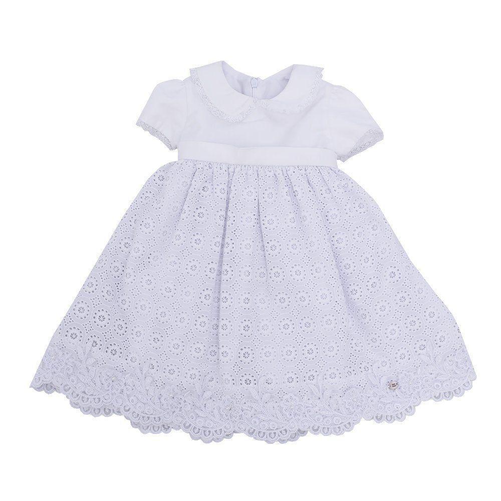 Vestido bebê bordado - Branco