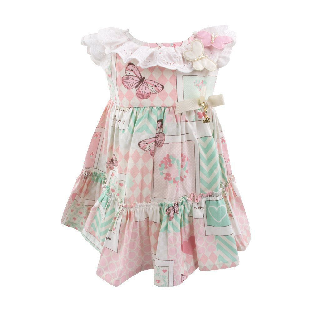 Vestido bebê borboletas - Branco e rosa Venha conhecer nossa ... 4ca8b37d5780