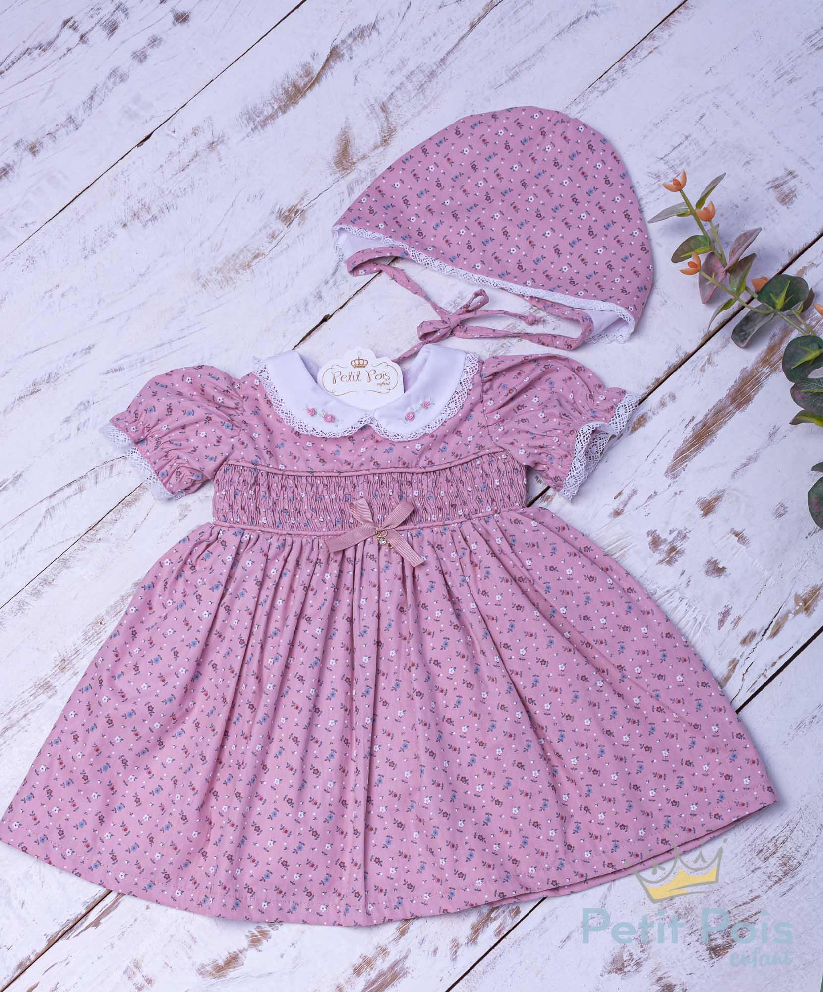 Vestido bebê casinha de abelha floral - Rosa seco
